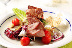 Pork kebab and vegetables Royalty Free Stock Photography