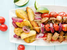 Pork kebabs Royalty Free Stock Photography