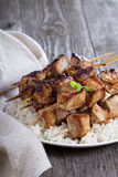Pork kebabs in soy sauce Stock Images