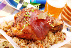 Pork Knuckle Baked With Beer Stock Photos