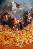 Pork knuckle placed on cabbage cooked traditional-3 Royalty Free Stock Images