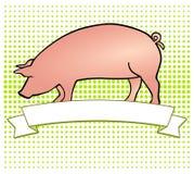 Pork-Label. Pork Label, vector cute pig Stock Photography