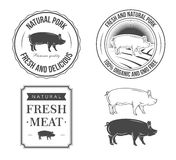 Pork labels. Set of vintage pork labels Royalty Free Stock Photography