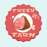 Pork Lad Pig Meat Eco Fresh Farm Logo. Flat Vector Illustration vector illustration