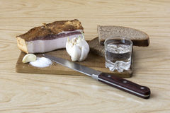 Pork lard with bread and shot of vodka Stock Photos