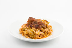 Pork with leeks and rice. Front View Selective Focus White background Stock Images