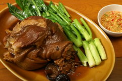 Pork leg. Steamed with vegetable and Chinese herb Royalty Free Stock Photos
