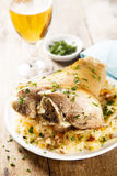 Pork leg. Cooked with cabbage and ham Stock Photo