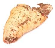 Pork leg. Raw marinated pork leg ready for cooking isolated on white background Royalty Free Stock Photo
