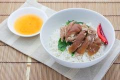 Pork leg with rice Stock Image
