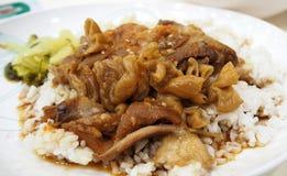 Pork leg with rice Stock Photo