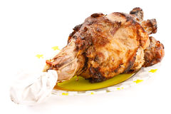 Pork leg roast. Roast pork leg was photographed on a white background Stock Photo