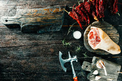 Pork leg and spices Stock Photography