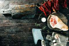 Pork leg and spices Royalty Free Stock Photography