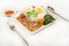 Pork Leg Stew over Rice (Kao Ka Moo) Stock Photography