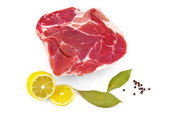 Pork with lemon and laurel  leaf Royalty Free Stock Photo
