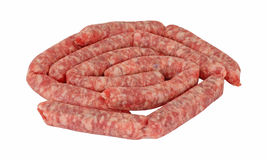 Pork Link Sausages Front View Stock Photo