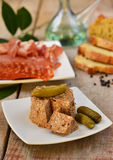 Pork liver paste pâté with pickles and tapas stock photography
