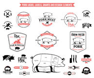 Pork Logos, Labels, Charts and Design Elements Stock Photography