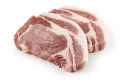 Pork loin. Slices of fresh raw pork loin Royalty Free Stock Images