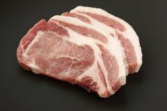 Pork loin. Slices of fresh raw pork loin Royalty Free Stock Photos