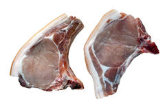 Pork Loin Chops Steaks Raw. Two raw pork loin chop steaks as would be served at a typical butchers on an isolated white background with a clipping path Royalty Free Stock Photos