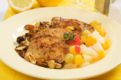 Pork loin chops with tropical fruit Royalty Free Stock Photography
