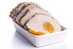 Pork loin with dried apricots Royalty Free Stock Photos