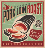 Pork loin roast retro poster design royalty free illustration