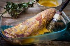 Pork loin with sauce Stock Photos
