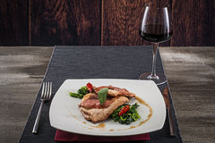 Pork loin with vegetables and chili pepper Royalty Free Stock Photos