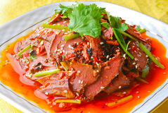 Pork lungs in chili sauce Stock Photos