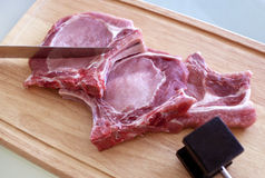 Pork meat. Sliced steak of raw pork meat Royalty Free Stock Photos