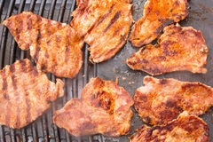 Pork meat on barbecue Royalty Free Stock Photos