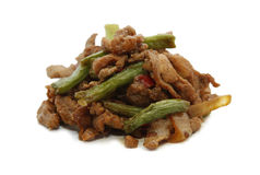 Pork meat with bean. Stir fry pork meat with string bean Stock Photo