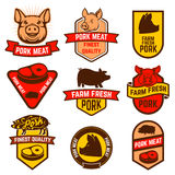 Pork meat, butcher shop labels. Royalty Free Stock Photos