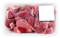 Pork meat chopped and packed in plastic Royalty Free Stock Photo