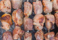 Pork meat cooked outdoor on smouldering carbons Royalty Free Stock Photo