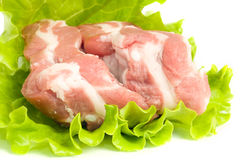 Pork meat on green salad. Isolated. Pieces of Pork meat on green salad. Isolated over white Stock Photo