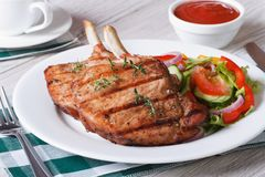 Pork meat grilled with fresh vegetable salad horizontal Royalty Free Stock Photography