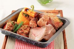 Pork Meat In A Roasted Pan Stock Photo