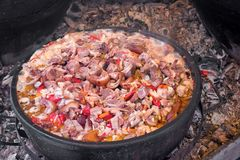 Pork meat knuckle, hock, ham hock with cabbage and other vegetable in earthy boiler-pans. Preparing delicious meal outdoor stock photos