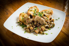 Pork meat and mushrooms stew Royalty Free Stock Photo