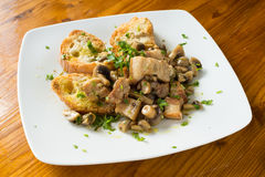Pork meat and mushrooms stew Royalty Free Stock Image