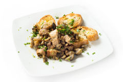 Pork meat and mushrooms stew Royalty Free Stock Photos