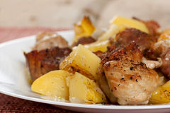 Pork meat with potatoes Royalty Free Stock Photography