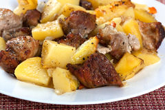 Pork meat with potatoes Stock Photo