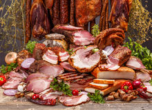Pork meat products Royalty Free Stock Images