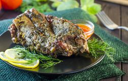 Pork meat on ribs baked in an oven Stock Photography