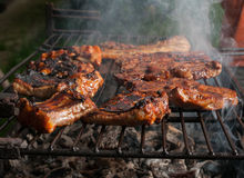 Pork meat and ribs on grill outdoors Royalty Free Stock Photo